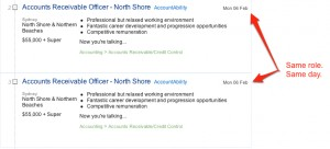 The same job ad on the same day