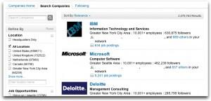LinkedIn Follow companies