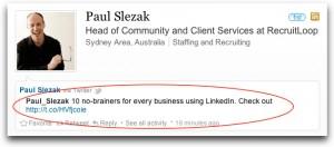 LinkedIn status update - Using LinkedIn for business