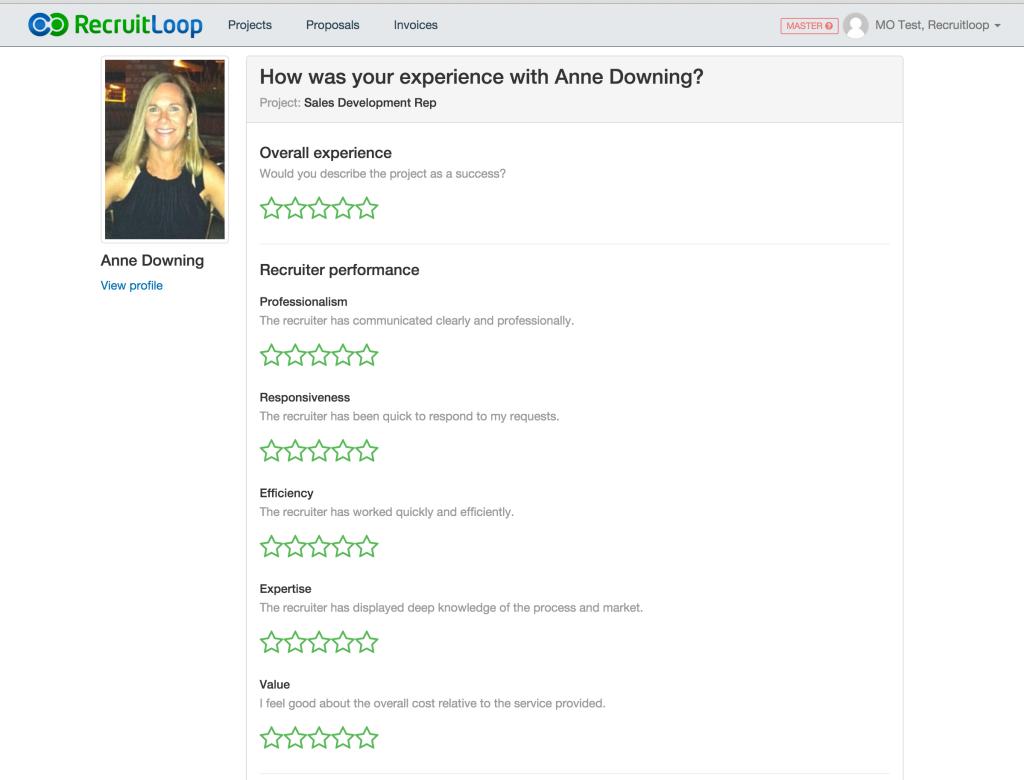Screenshot - Recruiter feedback