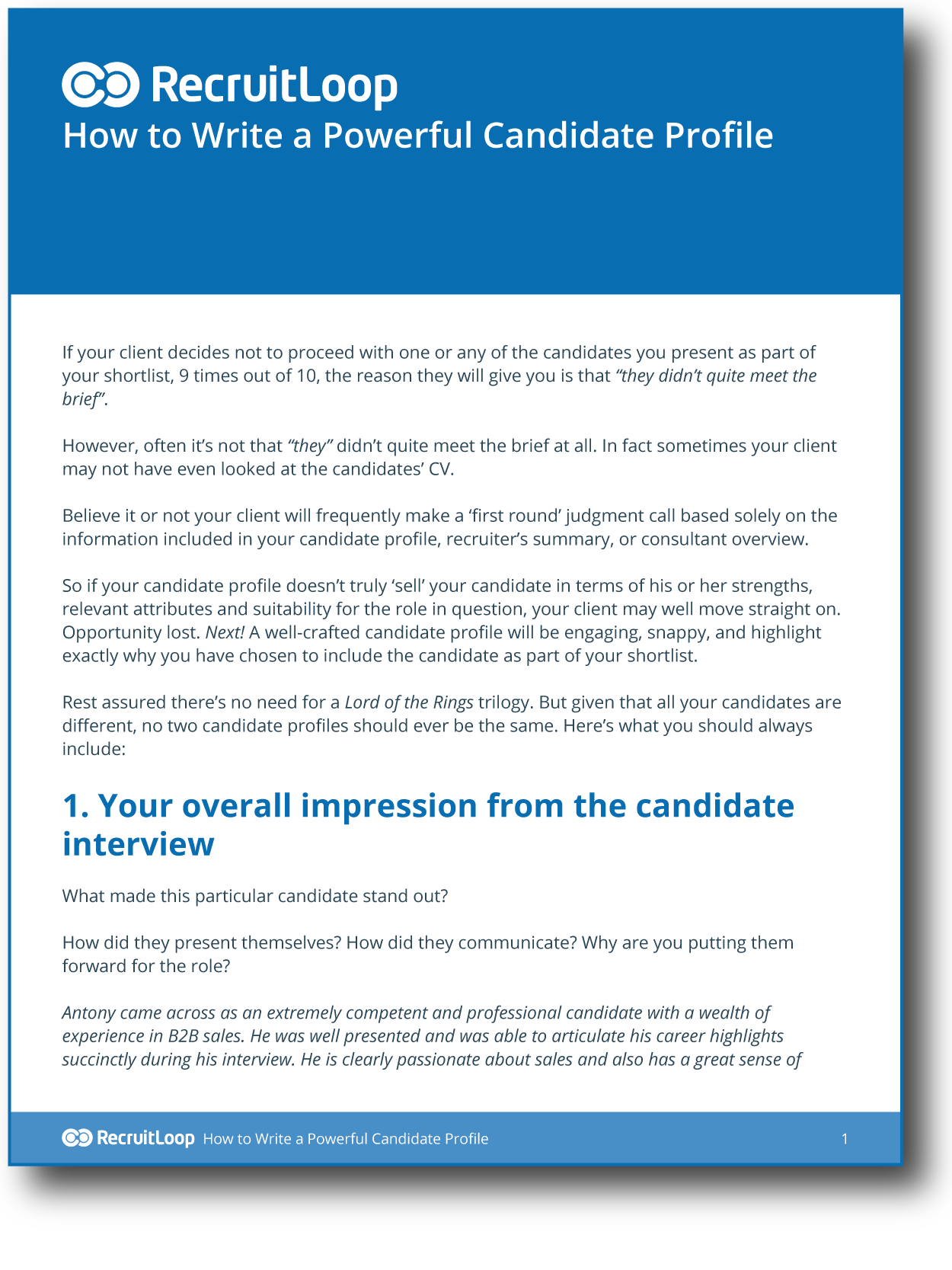 As candidate response sample for Agency pitch template