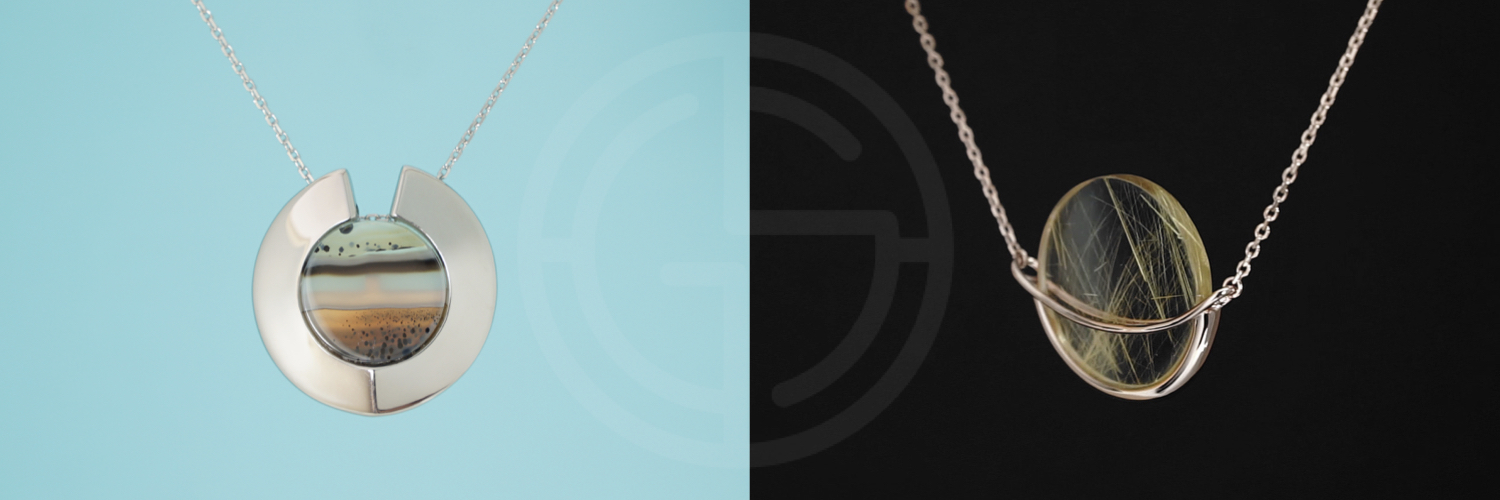 Natural semi-precious gemstone geometric minimalist jewellery by Gems In Style, Athena Aegis and Dancing Orbit collections.