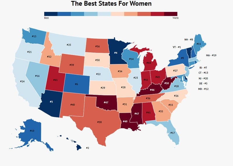 best states for women
