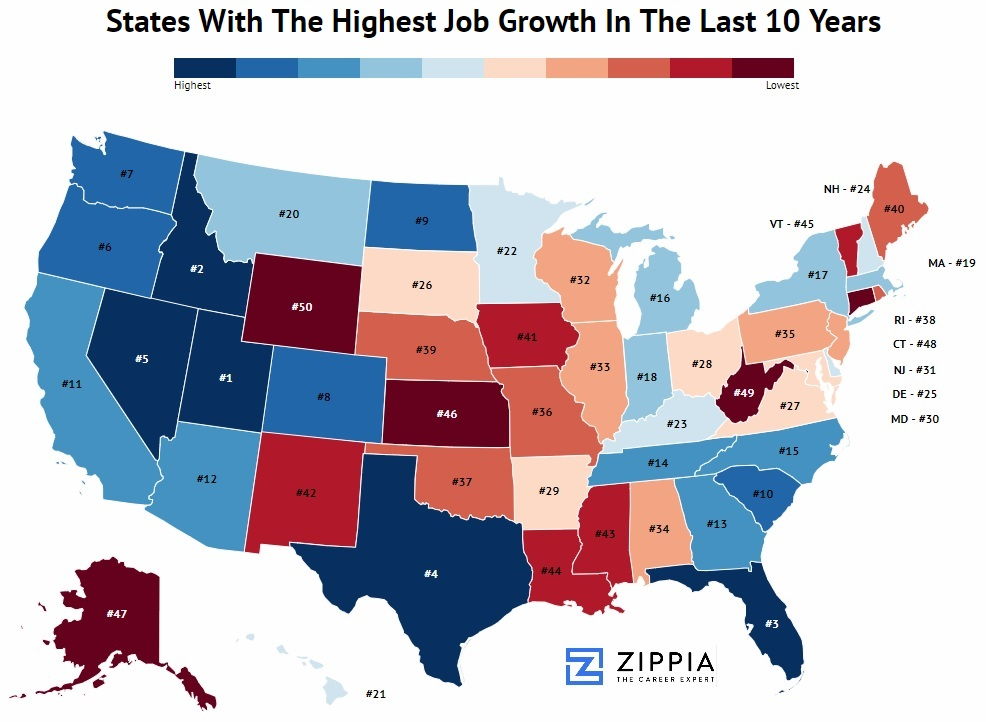 Wage Growth By State Ranking Map