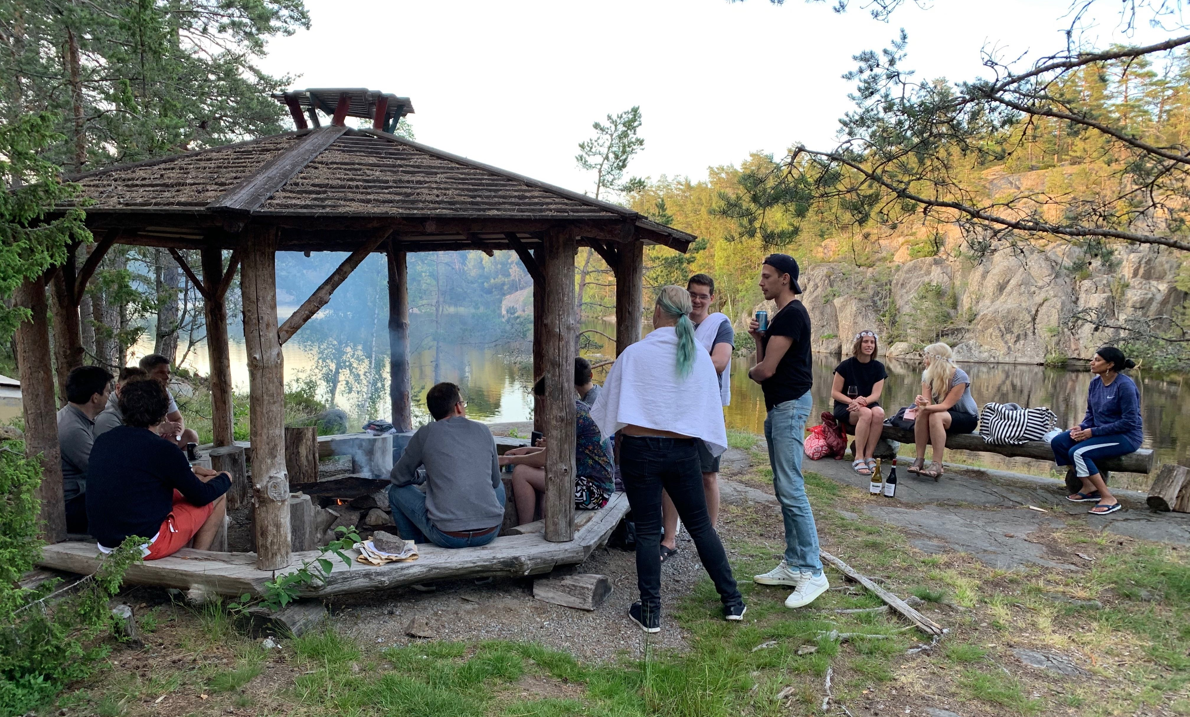 Around the campfire.