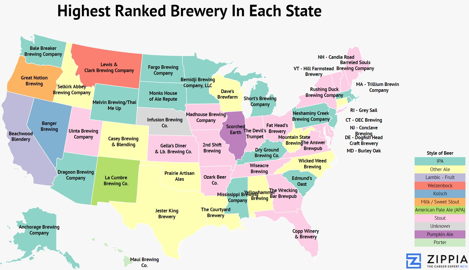 America The Brew Tiful Mapping The Best Brewery In Each State Zippia - Us-brewery-map