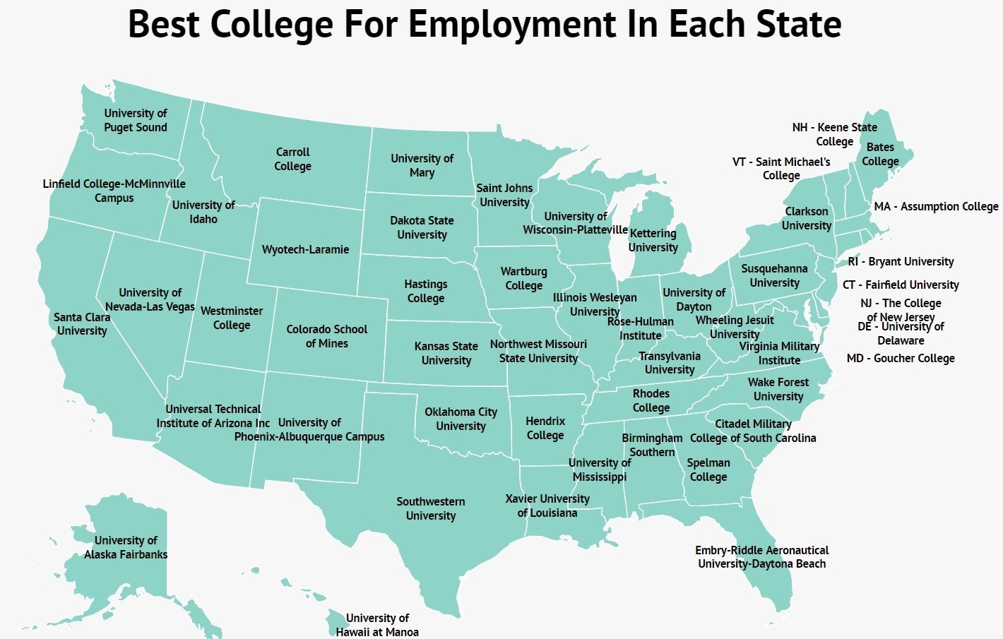 the best college in each state for getting a job zippia best college for employment in each state