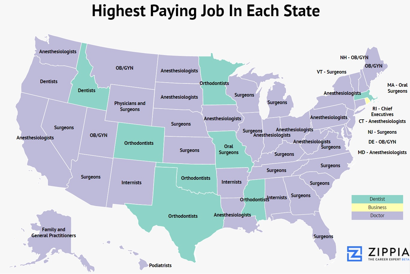 zippia maps show the highest and lowest paying jobs in each state zippia