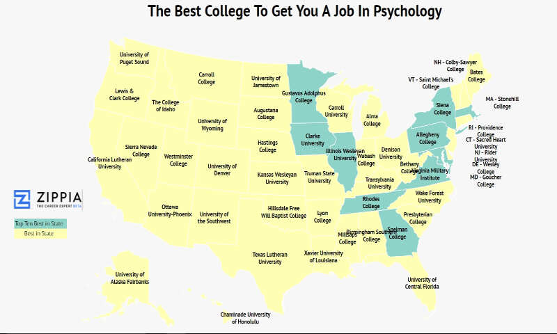 Map Of Texas Lutheran University.The Best College In Each State For Psychology Majors To Get Jobs