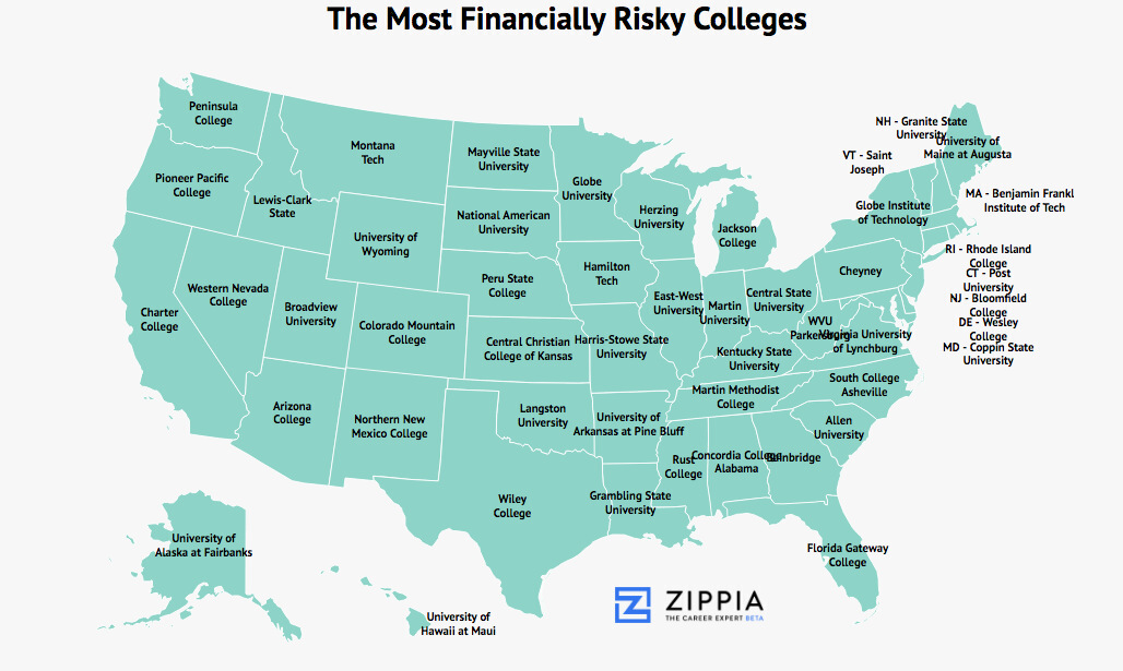 The Best College In Each State For Getting A Job Zippia: Universities In Florida Map At Slyspyder.com