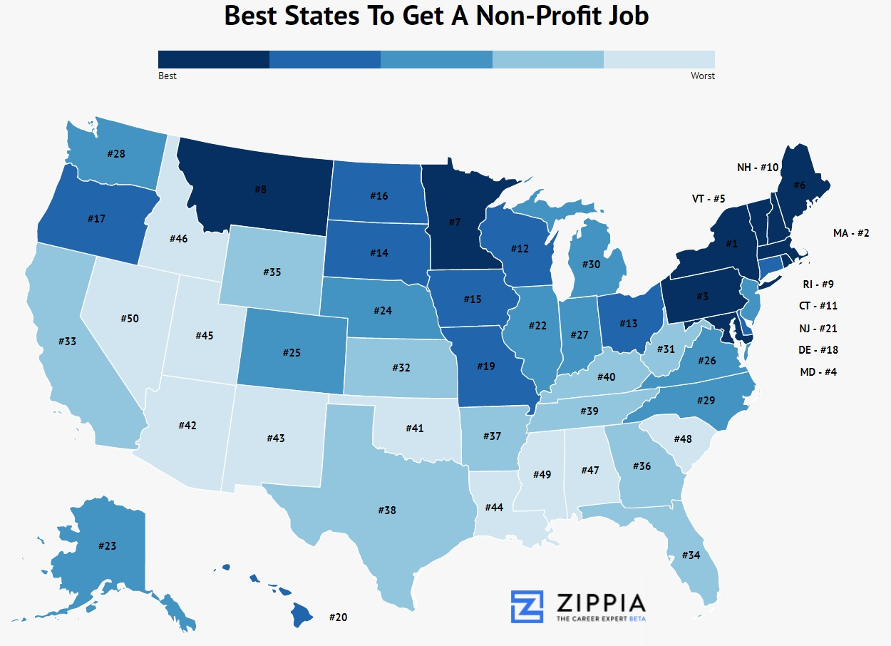 Best States For Non Profit Jobs