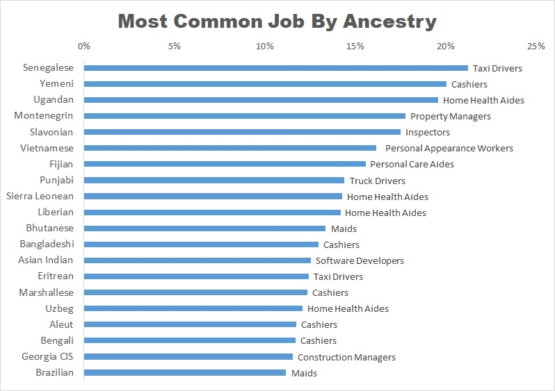 most common jobs by ancestry graph