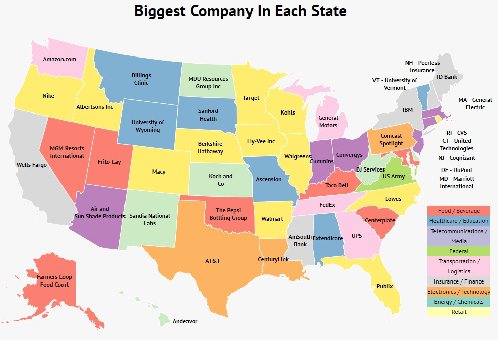 Biggest Company In Each State Map