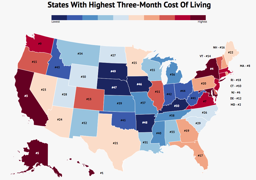 These Are The States With The Highest Three Month Cost Of Living
