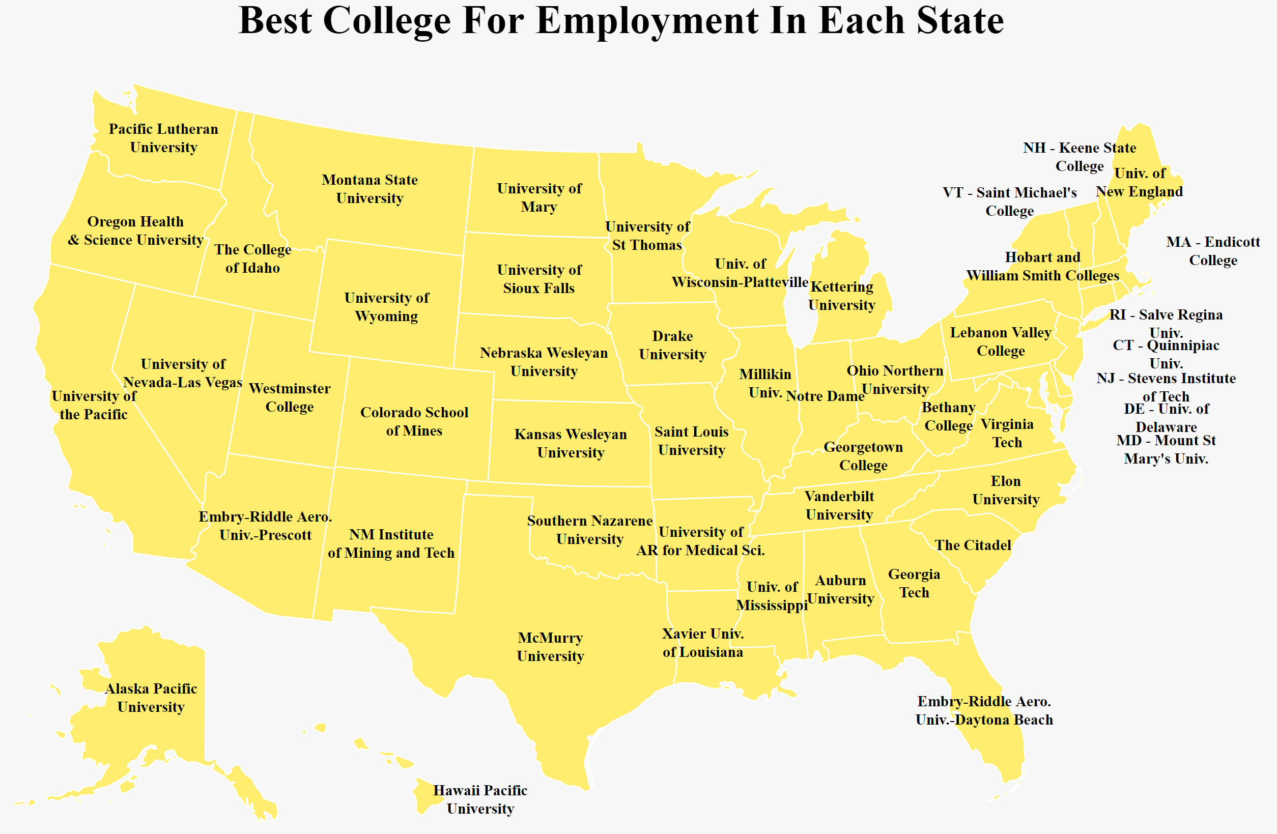 The Best College In Each State For Getting A Job 2018 Quinnipiac University Map on