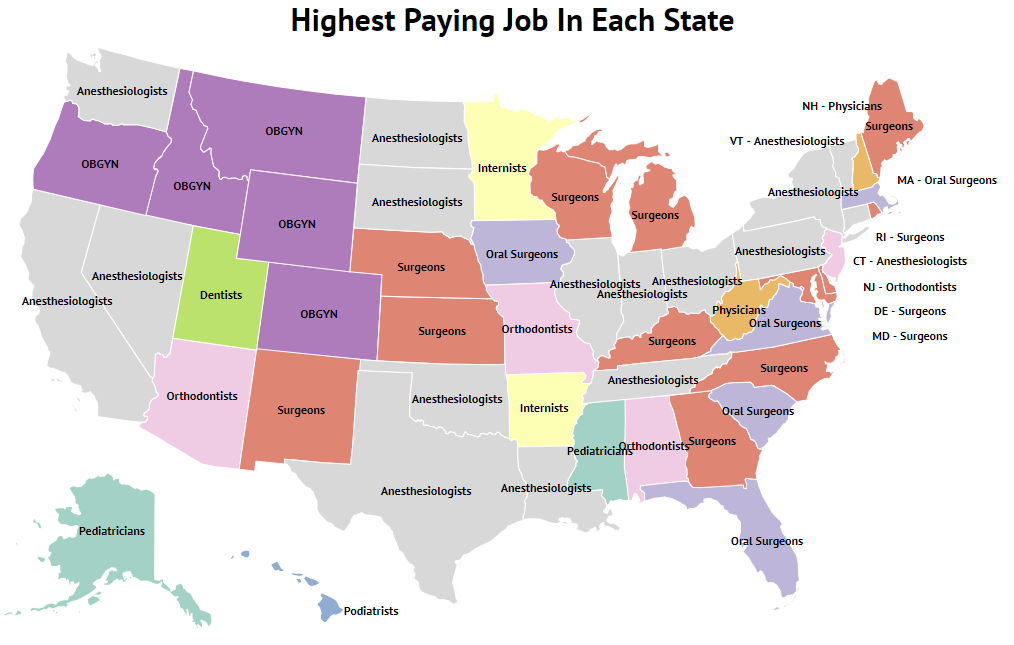 highest paying jobs in each state map