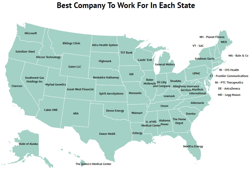 Best Company To Work For In Each State Map