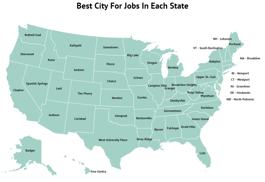 The Best City For Jobs In Each State
