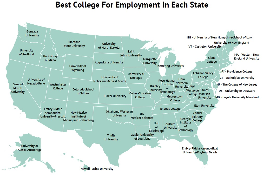 The Best College In Each State For Getting A Job 2019