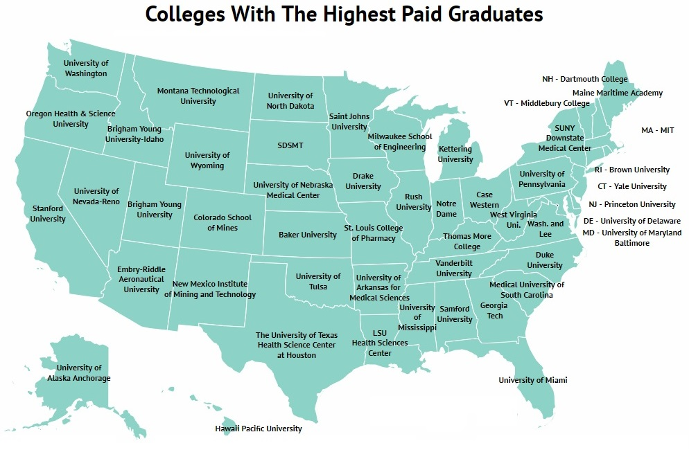 Colleges With The Highest Earning Graduates Map