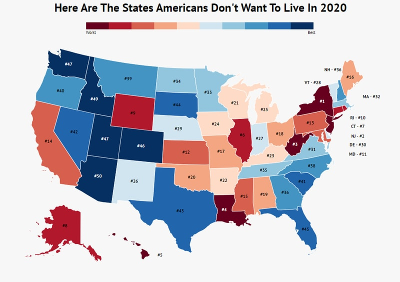 Here Are The States Where Americans Don't Want To Live Anymore In 2020