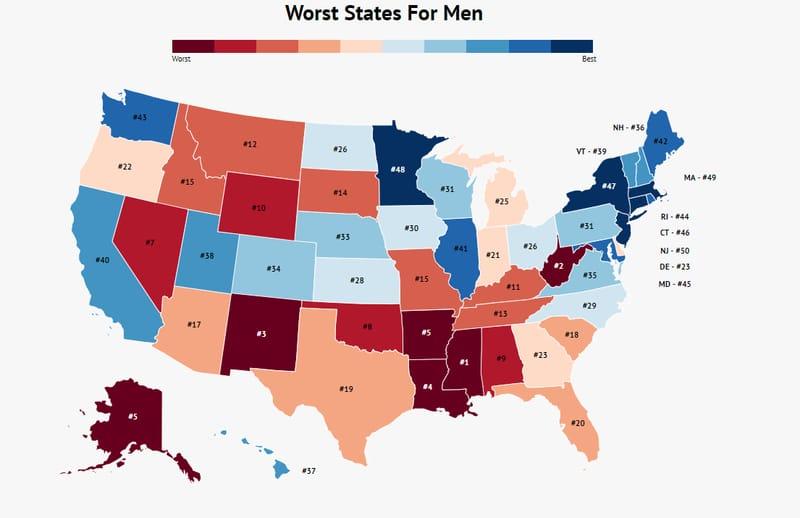 worst states for men
