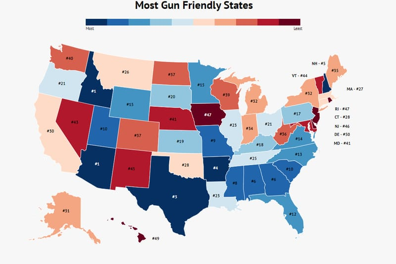 Gun Friendly States Map Here Are The Most (And Least) Gun Friendly States   Zippia