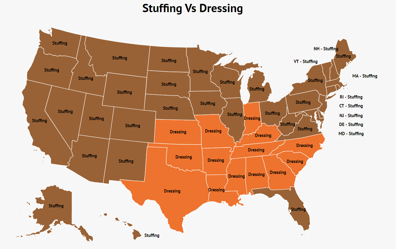 map of states where dressing is more common than stuffing