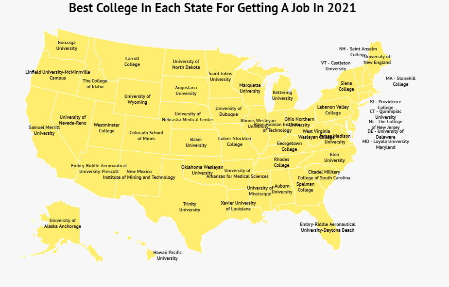 Best College For Getting A Job In Each State 2021 Map